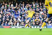 Chelsea's Willian attempts a shot at goal during the The FA Cup third round match between Chelsea and Scunthorpe United at Stamford Bridge, London, England on 10 January 2016. Photo by Shane Healey.