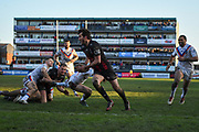 Stefan Ratchford (1) of Warrington Wolves breaks free and goes on to score a TRY during the Betfred Super League match between Wakefield Trinity Wildcats and Warrington Wolves at Belle Vue, Wakefield, United Kingdom on 16 February 2020.