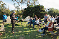 Winemaker, Ken Churchill of Churchill Cellars, Presenting His Wine to Backroads Guests at Olema Campground, Olema, California
