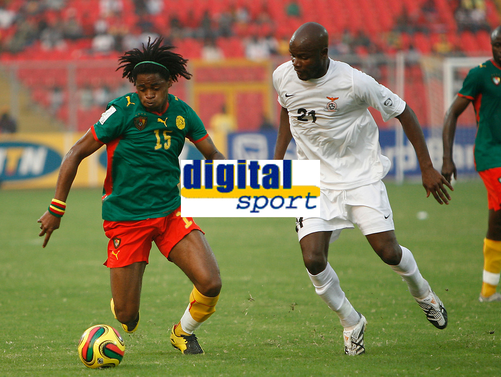 Photo: Steve Bond/Richard Lane Photography.<br />Cameroun v Zambia. Africa Cup of Nations. 26/01/2008. Alexandre Song (L) with James Chamanga (R) in attendance