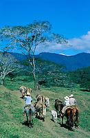 Mexique, Chiapas, Cavaliers dans la campagne