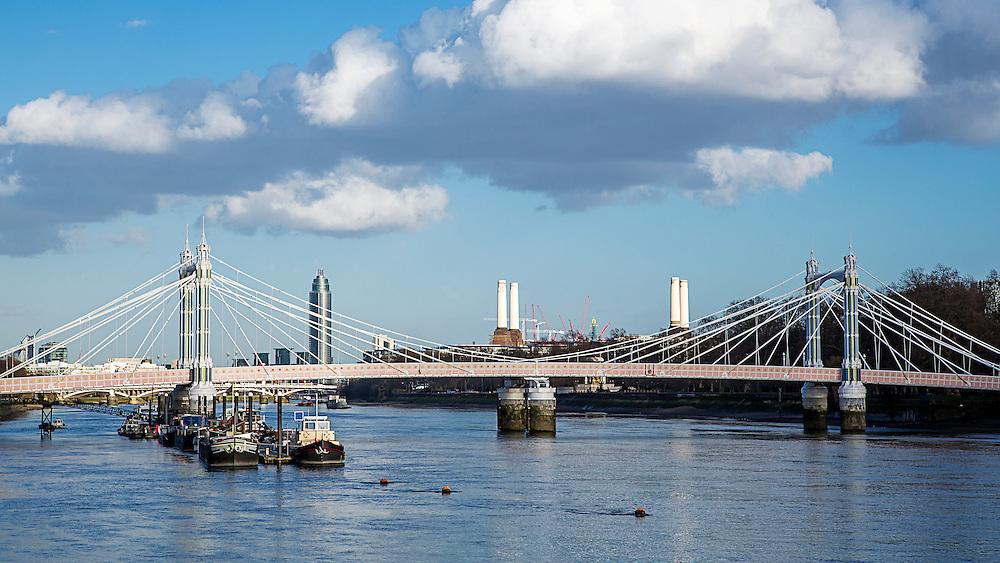 The ornate Albert Bridge spanning the River Thames in London