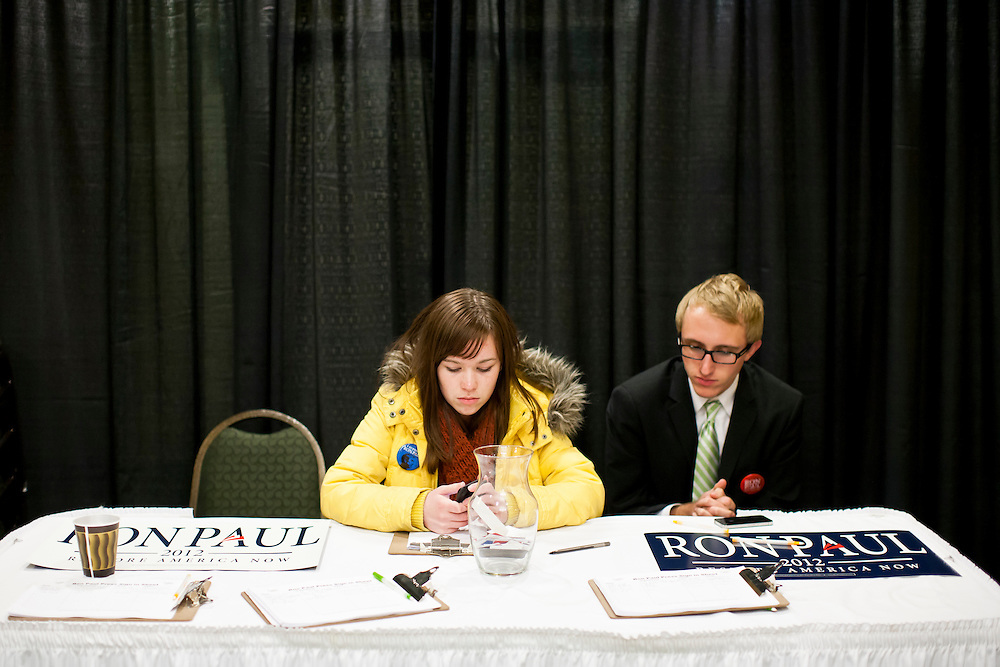Campaign workers for Republican presidential candidate Ron Paul before his caucus night rally on Tuesday, January 3, 2012 in Ankeny, IA.