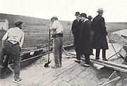 Fascist Italy during the 1920's and 1930's saw many large scale construction endeavours including highways and roads. Mussolini surveys the building of a motorway 'Autostrada' between Rome and the coast of Italy 1928