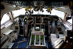 The cockpit of a 747 has been dismantled.Aeroplanes at Air Salvage International in Cirencester, Cotswold,United Kingdom, Friday, 15th November 2013. The Planes at the Aeroplane Scrapyard are taken apart for spare parts and scrap. In the air, A plane could be worth around £12.5M, But as parts it might be worth almost £19M. Almost everything on a modern airliner can be recycled, except the light bulbs and tyres. More than 40 planes are recycled at Air Salvage a year. Picture by Andrew Parsons / i-Images
