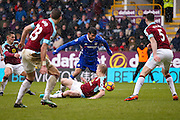 Chelsea forward Diego Costa (19) throws Burnley defender Ben Mee (6) a dummy in the penalty area during the Premier League match between Burnley and Chelsea at Turf Moor, Burnley, England on 12 February 2017. Photo by Simon Davies.