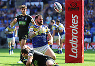 Adam Cuthbertson of Leeds Rhinos celebrates scoring the second try against Warrington Wolves during the Ladbrokes Challenge Cup Semi Final match at the Macron Stadium Stadium, Bolton.<br /> Picture by Michael Sedgwick/Focus Images Ltd +44 7900 363072<br /> 05/08/2018