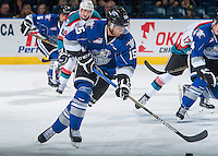 KELOWNA, CANADA - SEPTEMBER 3: Zach Russell #15 of Victoria Royals skates with the puck against the Kelowna Rockets on September 3, 2016 at Prospera Place in Kelowna, British Columbia, Canada.  (Photo by Marissa Baecker/Shoot the Breeze)  *** Local Caption *** Zach Russell;