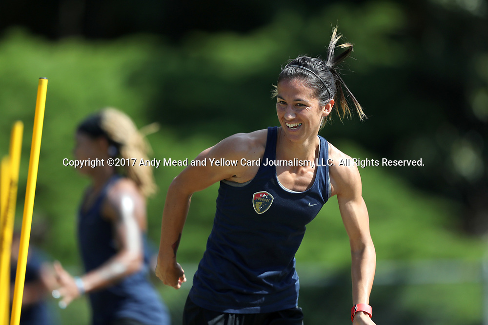 CARY, NC - MAY 04: Abby Erceg. The North Carolina Courage held a training session on May 4, 2017, at WakeMed Soccer Park Field 6 in Cary, NC.