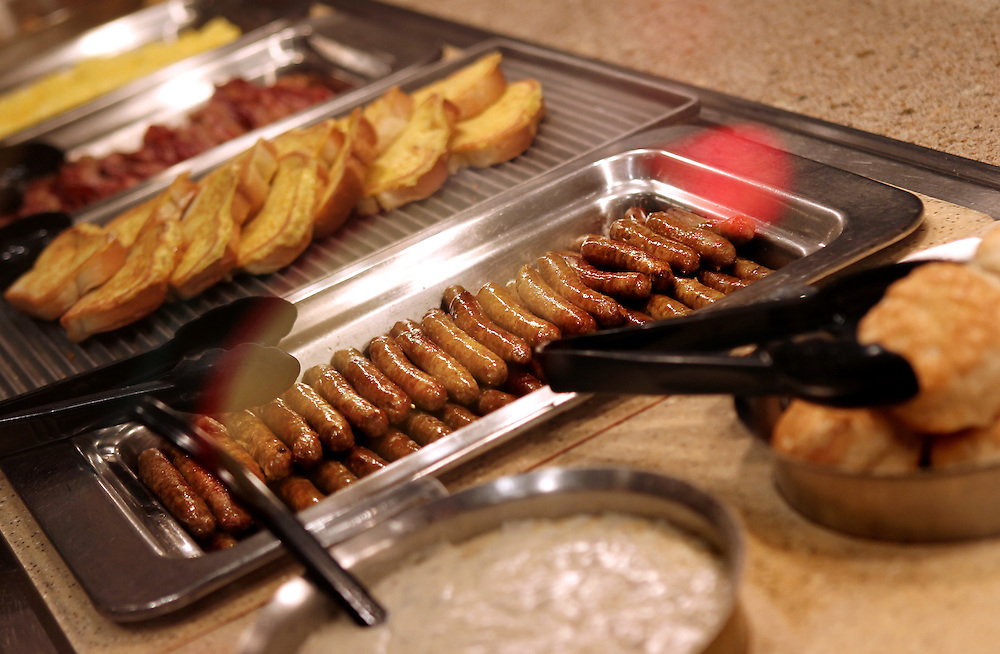 Biscuits, gravy, sausage links, french toast, bacon and eggs are some of the items featured in the breakfast bar in the Grand Buffet at Grand Casino Hinckley December 20, 2011.