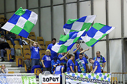 Fans of PGE Atom Trelf Sopot during the volleyball match between Calcit Ljubljana and PGE Atom Trefl Sopot at 2016 CEV Volleyball Champions League, Women, League Round in Pool B, 1st Leg, on October 29, 2016, in Hala Tivoli, Ljubljana, Slovenia.  (Photo by Matic Klansek Velej / Sportida)