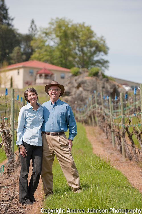 Earl & Hilda Jones, proprietors Abacela Winery, at their estate vineyard, Umpua Valley, Southern Oregon
