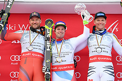 14.03.2018, Aare, SWE, FIS Weltcup Ski Alpin, Finale, Aare, Abfahrt Weltcup, Siegerehrung, im Bild Aksel Lund Svindal (NOR, 2.Platz Abfahrts Weltcup) Beat Feuz (SUI, Abfahrt Weltcup Sieger) Thomas Dressen (GER, 3. Platz Abfahrts Weltcup) // Beat Feuz of Switzerland Winner of the Downhill World CupBeat Feuz of Switzerland Winner of the Downhill World Cup Thomas Dressen of Germany third place downhill worldcup during the winner Ceremony for the downhill Worlcup of FIS Ski Alpine World Cup finals in Aare, Sweden on 2018/03/14. EXPA Pictures © 2018, PhotoCredit: EXPA/ Erich Spiess