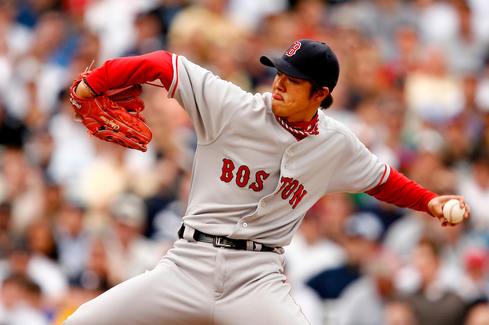 NEW YORK - APRIL 29: Hideki Okajima #37 of the Boston Red Sox pitches against  the New York Yankees at Yankee Stadium on April 29, 2007 in the Bronx borough of New York City. The Red Sox defeated the Yankees 7 to 4.