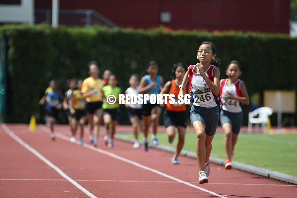 Bishan Stadium, Tuesday, April 30, 2013 &mdash; Megan Ng of Pei Hwa Presbyterian Primary set a new record as she stormed home to take the C girls&rsquo; 600 metres gold in a time of 1 minute 51.12 seconds at the 54th National Inter-Primary School Track &amp; Field Championships.<br /> <br /> Story: http://www.redsports.sg/2013/05/06/pri-c-div-600m-girls-megan-ng-pei-hwa-presbyterian/
