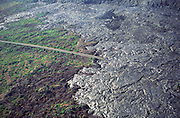 Lava Flow over road, Kilauea Volcano, island of Hawaii<br />