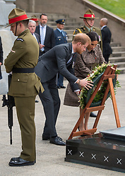 The Duke and Duchess of Sussex lay a wreath during a visit to the newly unveiled UK war memorial and Pukeahu National War Memorial Park, in Wellington, on day one of the royal couple's tour of New Zealand.