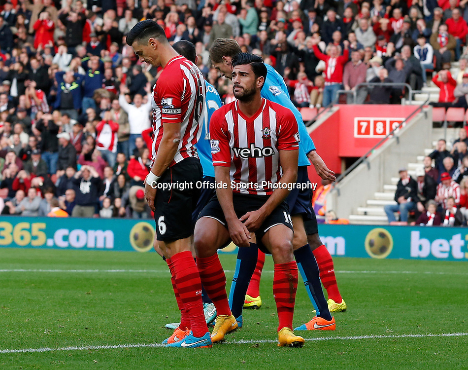 25th October 2014 - Barclays Premier League - Southampton v Stoke City - Graziano Pelle of Southampton reacts after missing a chance - Photo: Paul Roberts / Offside.