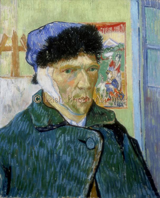 Self-Portrait with Bandaged Ear' 1889.  Vincent Van Gogh (1853-1890) Dutch Post-Impressionist artist.