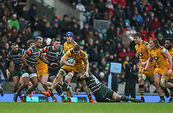 Jack Willis of Wasps is tackled by Jordan Taufua of Leicester Tigers - Mandatory by-line: Arron Gent/JMP - 15/02/2020 - RUGBY - Welford Road Stadium - Leicester, England - Leicester Tigers v Wasps - Gallagher Premiership Rugby