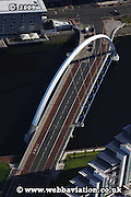 aerial photograph of the Clyde Arc - Squinty Bridge -  Glasgow Scotland