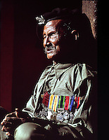 80 year old Gurkha Karnabahadur Rana, once in the British Army and holder of the Victoria Cross.Nepal 1969.Photographed by Terry Fincher