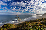 Morning clouds and fog at the beach at Cape Blanco State Park, Oregon, USA