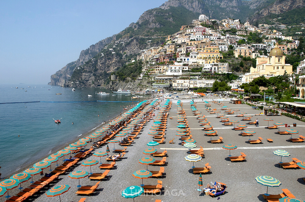 View over the beach, the town and the Amalfi Coast.