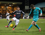 Dumbarton&rsquo;s Mark Brown clears from Dundee's Arturo - Dundee v Dumbarton, William Hill Scottish Cup Fifth Round at Dens Park<br /> <br />  - &copy; David Young - www.davidyoungphoto.co.uk - email: davidyoungphoto@gmail.com