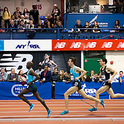 February 15, 2014 - New York, NY : <br /> Athletes including Bernard Lagat, left, compete in the Paavo Nurmi Men's 2,000M Run (Elite) during the 2014 NYRR Millrose Games at the The New Balance Track & Field Center at The Armory in Washington Heights, Manhattan, on Saturday afternoon. Lagat finished first in the race. <br /> CREDIT: Karsten Moran for The New York Times