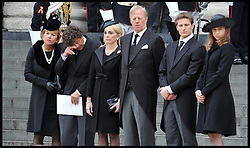 Lady Thatcher's family on the steps of St Paul's Cathedral. After Lady Thatcher's funeral, following her death last week, London, UK, Wednesday 17 April, 2013, Photo by: Andrew Parsons / i-Images<br />
