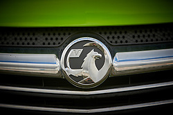 © Licensed to London News Pictures. 06/03/2017. LUTON, UK.  Detail view of a Vauxhall badge. The company has been sold to French carmaker Peugeot-Citroen prompting fears over the future of the factory which currently makes Vivaro vans.  Photo credit: Cliff Hide/LNP