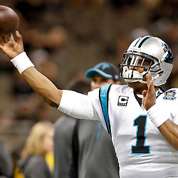 Dec 7, 2014; New Orleans, LA, USA; Carolina Panthers quarterback Cam Newton (1) before a game against the New Orleans Saints at the Mercedes-Benz Superdome. Mandatory Credit: Derick E. Hingle-USA TODAY Sports