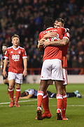 Nottingham Forest midfielder Mustafa Carayol (18) and Nottingham Forest forward Daryl Murphy (9) celebrates after scoring a goal to make it 1-0 during the EFL Sky Bet Championship match between Nottingham Forest and Norwich City at the City Ground, Nottingham, England on 21 November 2017. Photo by Jon Hobley.