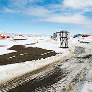 A makeshift road is plowed through the snow and ice at Bellingshausen Station, a Russian scientific research station in Antarctica.