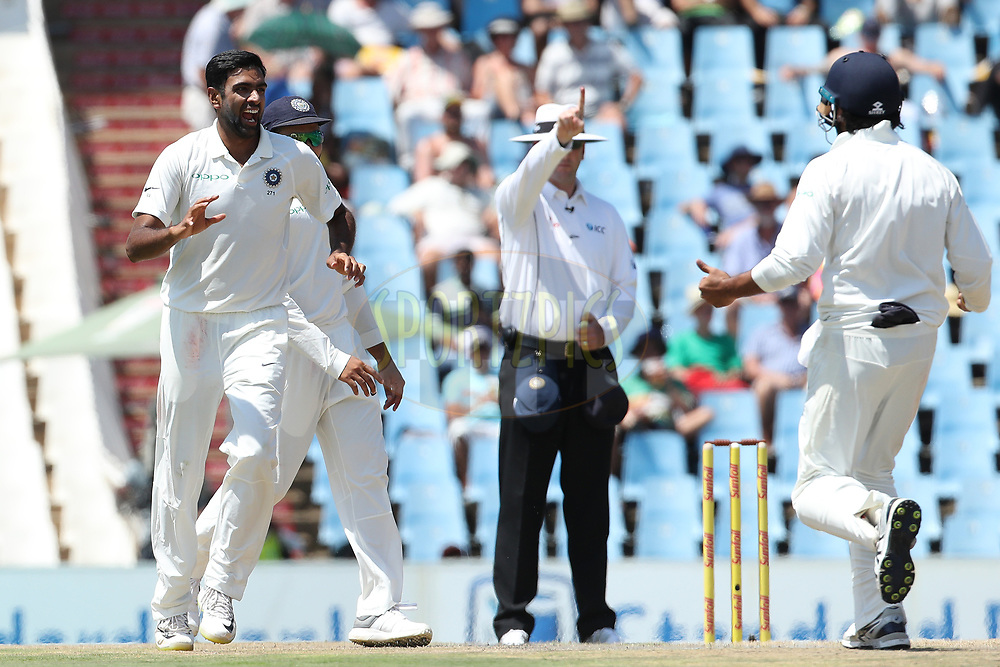 Ravichandran Ashwin of India celebrates the the wicket of Aiden Markram of South Africa during the first day of the second Sunfoil Test match between South Africa and India held at the Supersport park Cricket Ground in Centurion, South Africa on the 13th January 2018<br /> <br /> Photo by: Ron Gaunt / BCCI / SPORTZPICS