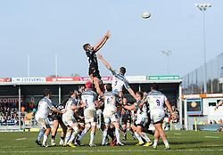 General view of Geoff Parling of Exeter Chiefs taking the ball at the lineout.  - Mandatory byline: Alex Davidson/JMP - 12/03/2016 - RUGBY - Sandy Park -Exeter Chiefs,England - Exeter Chiefs v Newcastle Falcons - Aviva Premiership