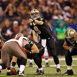 January 2, 2011; New Orleans, LA, USA; New Orleans Saints quarterback Drew Brees (9) calls an audible at the line during the first quarter against the Tampa Bay Buccaneers at the Louisiana Superdome. Mandatory Credit: Derick E. Hingle