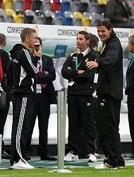 11.10.2011, Esprit Arena, Duesseldorf, GER, UEFA EURO 2012 Qualifikation, Deutschland (GER) vs Belgien (BEL), im Bild..Bastian Schweinsteiger (GER) im Gespräch mit Daniel van Buyten (Belgien)  vor dem Spiel ..// during the UEFA Euro 2012 qualifying round Germany vs Belgium  at Esprit Arena, Duesseldorf 2011-10-11 EXPA Pictures © 2011, PhotoCredit: EXPA/ nph/  Hessland       ****** out of GER / CRO  / BEL ******