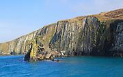 Sheer cliff vertical sedimentary rock strata, west coast Cape Clear Ireland, County Cork, Ireland, Irish Republic