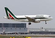 Alitalia Airbus A319-111. Photographed at Malpensa airport, Milan, Italy