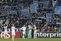 November 8, 2018 - Kiev, Ukraine - Dynamo Kiev's players celebrate with their fans the victory over Rennes during the UEFA Europa League Group K second-leg football match between Rennes and Dynamo Kyiv at the Olympiyskiy Stadium in Kiev, Ukraine, 08 November 2018. (Credit Image: © Str/NurPhoto via ZUMA Press)