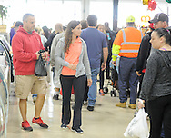 From left, Tom Frontino and Julia Frith of Philadelphia, Pennsylvania walk through the newly renovated area during the grand reopening of the Columbus Farmers Market Saturday May 21, 2016 in Columbus, New Jersey. (Photo by William Thomas Cain)