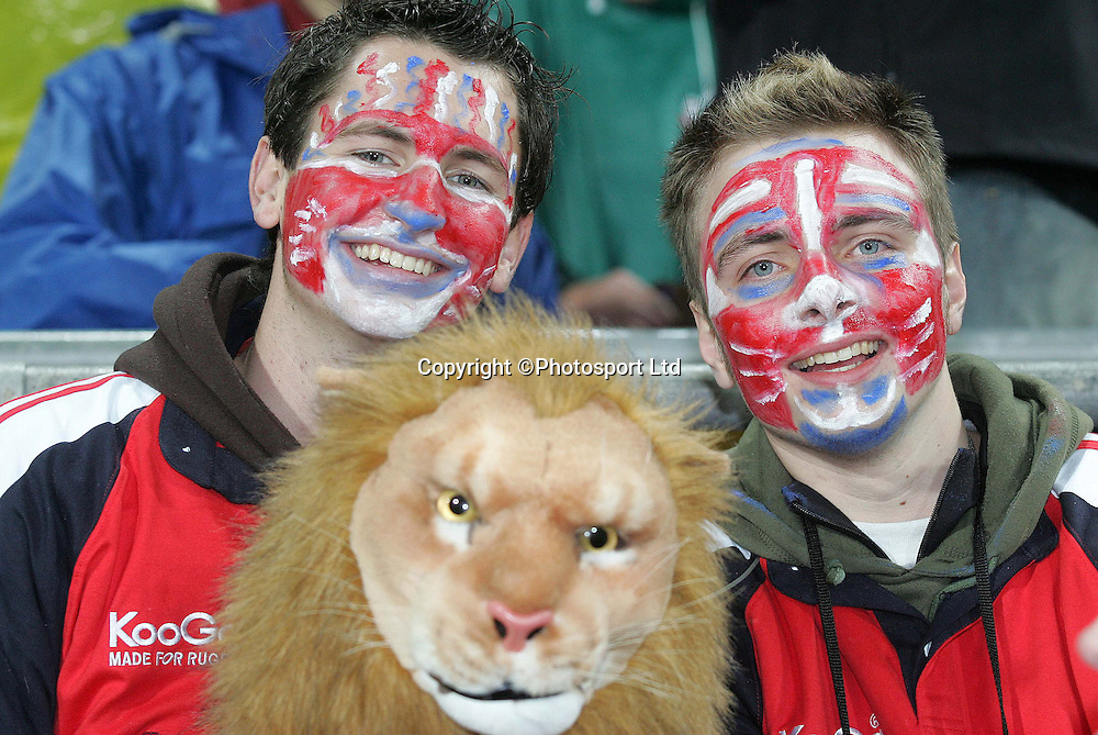 Lions fans during the Wellington v British Lions match in Wellington's Westpac Stadium New Zealand. 15th June 2005. Lion's won 23-6. Photo: Marty Melville/PHOTOSPORT<br /><br /><br />127167