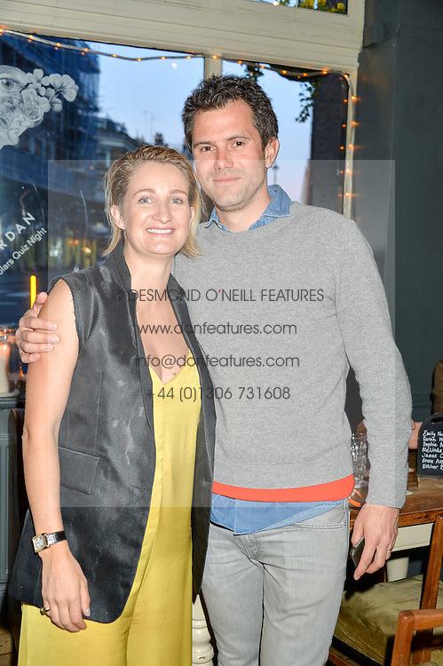 ZOE JORDAN and her husband STEVE ASPINALL at a quiz night hosted by Zoe Jordan to celebrate the launch of her men's ZJKNITLAB collection held at The Larrick Pub, 32 Crawford Place, London on 20th April 2016.