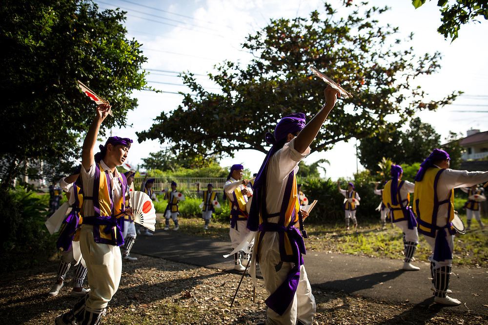 OKINAWA, JAPAN - AUGUST 17 : Local Eisa folk dancers perform a modern Eisa folk dance in Higashi village during the Obon festival to honour the spirits of their ancestors on August 17, 2016, Okinawa prefecture, Japan.  (Photo by Richard Atrero de Guzman/NURPhoto)