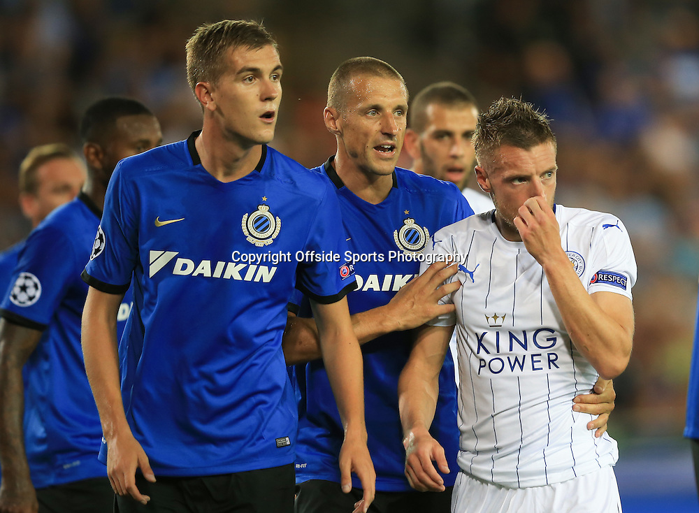 14 September 2016 - UEFA Champions League (Group G) - Club Brugge v Leicester City - Jamie Vardy of Leicester City centre of attention in the Brugge penalty area - Photo: Marc Atkins / Offside.