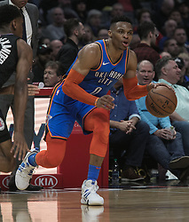 March 8, 2019 - Los Angeles, California, United States of America - Sindarius Thornwell #0 of the Oklahoma Thunder  dunks the ball during their NBA game with the Los Angeles Clippers on Friday March 8, 2019 at the Staples Center in Los Angeles, California. Clippers defeat Thunder, 118-110.  JAVIER ROJAS/PI (Credit Image: © Prensa Internacional via ZUMA Wire)