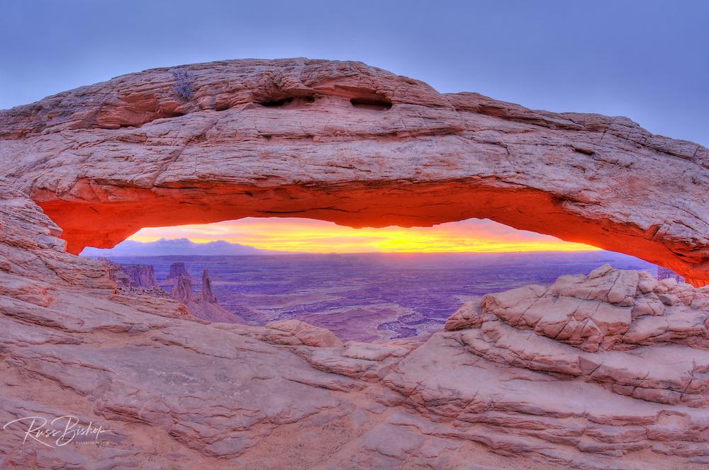 Sunrise on Mesa Arch, Island in the Sky, Canyonlands National Park, Utah USA
