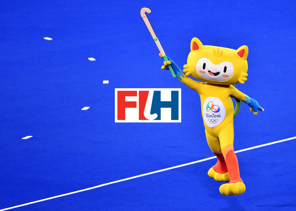 Vinicius, the mascot of the Olympic games, holds a stick on the pitch during the women's semifinal field hockey New Zealand vs Britain match of the Rio 2016 Olympics Games at the Olympic Hockey Centre in Rio de Janeiro on August 17, 2016. / AFP / Pascal GUYOT        (Photo credit should read PASCAL GUYOT/AFP/Getty Images)